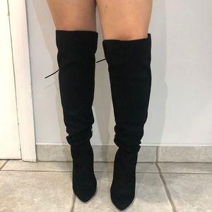 Black, Over the knee, high heel, boots